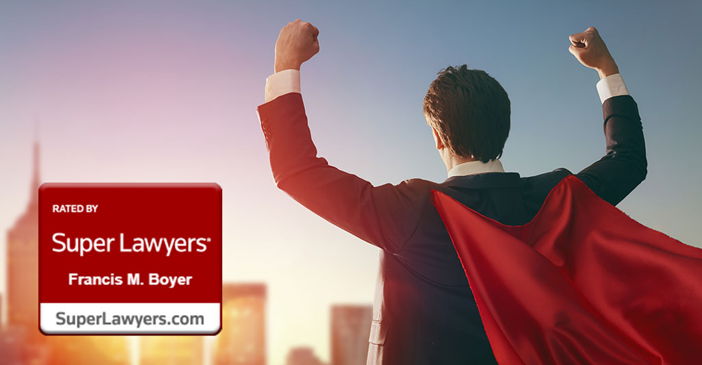 man in suit wearing a cape with fists in the air, success, rated 2020 super lawyer, francis m. boyer