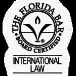 Certificado por la el Colegio de Abogados como experto en ley internacional de Florida